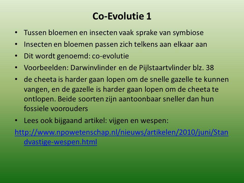 Co-Evolutie 1 Tussen bloemen en insecten vaak sprake van symbiose Insecten en bloemen passen zich telkens aan elkaar aan Dit wordt genoemd: co-evoluti