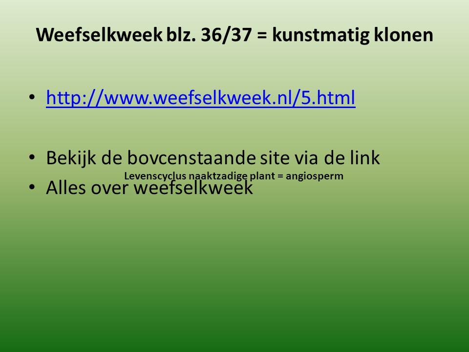 Weefselkweek blz. 36/37 = kunstmatig klonen http://www.weefselkweek.nl/5.html Bekijk de bovcenstaande site via de link Alles over weefselkweek Levensc