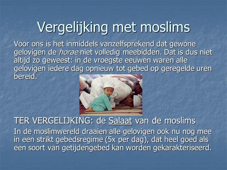 Vergelijking met moslims Voor ons is het inmiddels vanzelfsprekend dat gewone gelovigen de horae niet volledig meebidden.