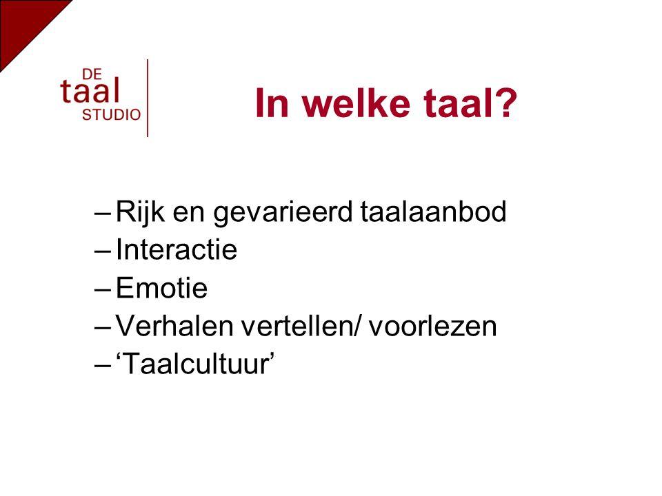 –Rijk en gevarieerd taalaanbod –Interactie –Emotie –Verhalen vertellen/ voorlezen –'Taalcultuur' In welke taal?