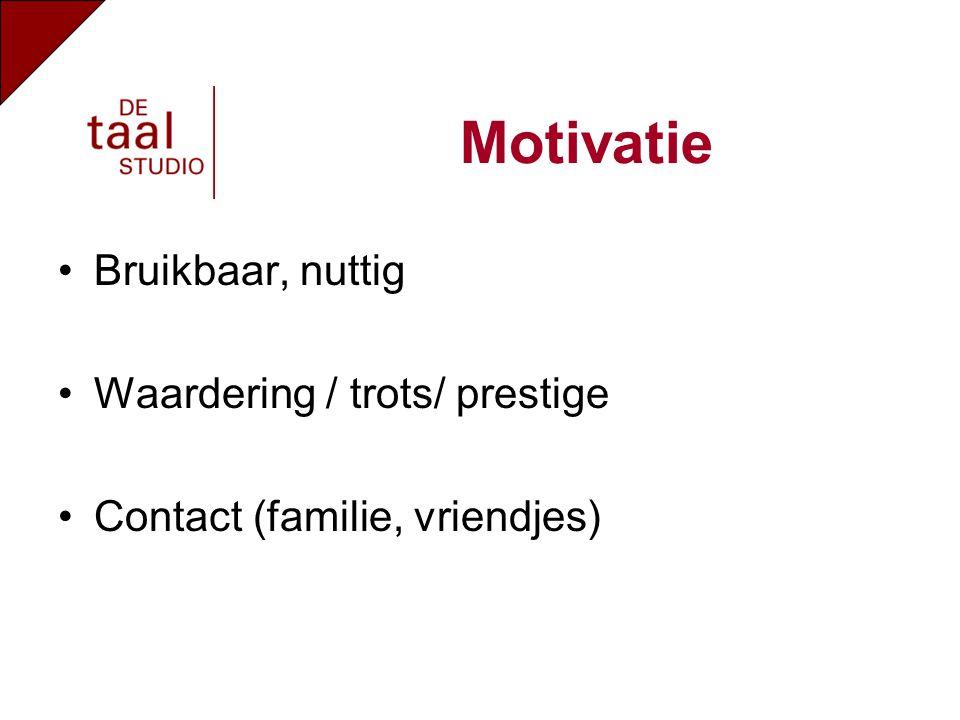 Motivatie Bruikbaar, nuttig Waardering / trots/ prestige Contact (familie, vriendjes)