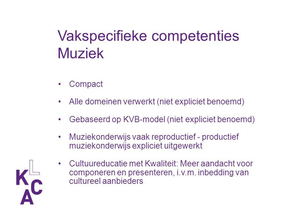Vakspecifieke competenties Muziek Compact Alle domeinen verwerkt (niet expliciet benoemd) Gebaseerd op KVB-model (niet expliciet benoemd) Muziekonderwijs vaak reproductief - productief muziekonderwijs expliciet uitgewerkt Cultuureducatie met Kwaliteit: Meer aandacht voor componeren en presenteren, i.v.m.