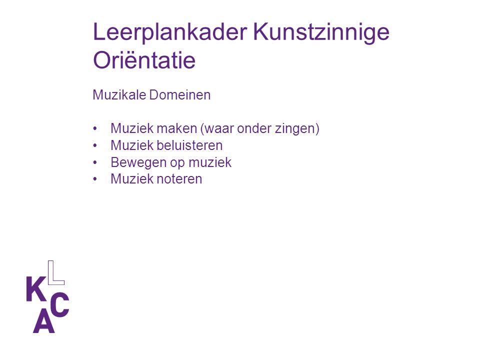 Leerplankader Kunstzinnige Oriëntatie Muzikale Domeinen Muziek maken (waar onder zingen) Muziek beluisteren Bewegen op muziek Muziek noteren