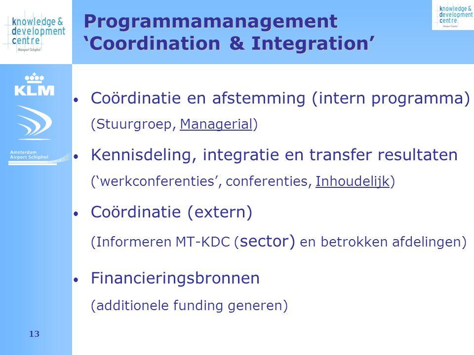 Amsterdam Airport Schiphol 13 Programmamanagement 'Coordination & Integration' Coördinatie en afstemming (intern programma) (Stuurgroep, Managerial) Kennisdeling, integratie en transfer resultaten ('werkconferenties', conferenties, Inhoudelijk) Coördinatie (extern) (Informeren MT-KDC ( sector) en betrokken afdelingen) Financieringsbronnen (additionele funding generen)