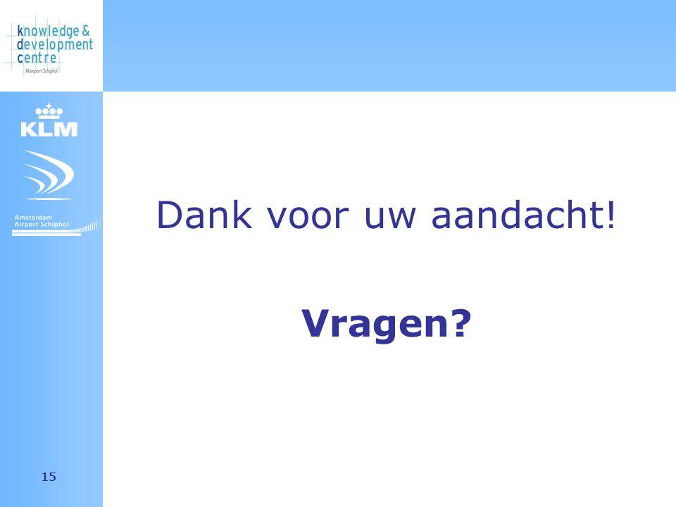 Amsterdam Airport Schiphol 15 Dank voor uw aandacht! Vragen
