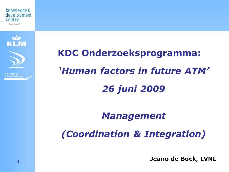Amsterdam Airport Schiphol 4 KDC Onderzoeksprogramma: 'Human factors in future ATM' 26 juni 2009 Management (Coordination & Integration) Jeano de Bock, LVNL