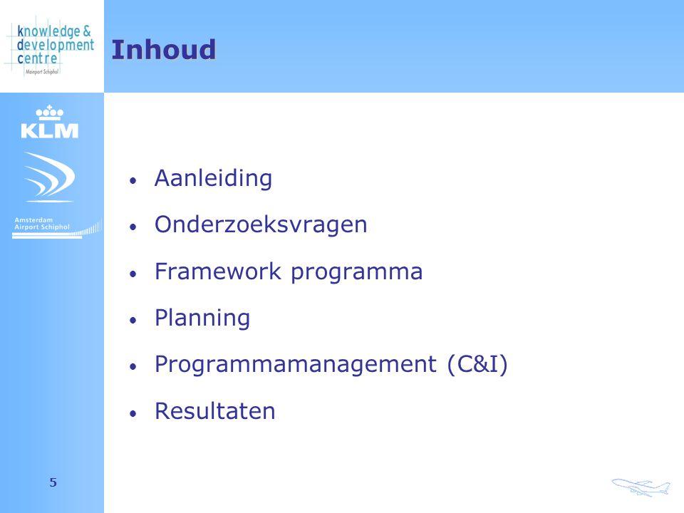 Amsterdam Airport Schiphol 5Inhoud Aanleiding Onderzoeksvragen Framework programma Planning Programmamanagement (C&I) Resultaten