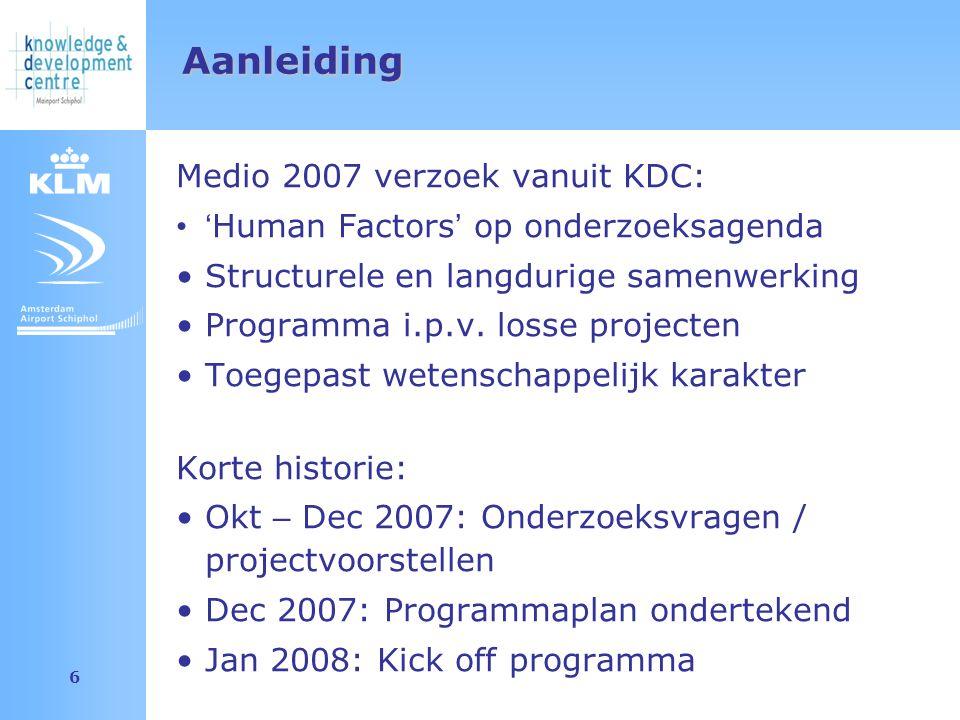 Amsterdam Airport Schiphol 6 Aanleiding Medio 2007 verzoek vanuit KDC: ' Human Factors ' op onderzoeksagenda Structurele en langdurige samenwerking Programma i.p.v.