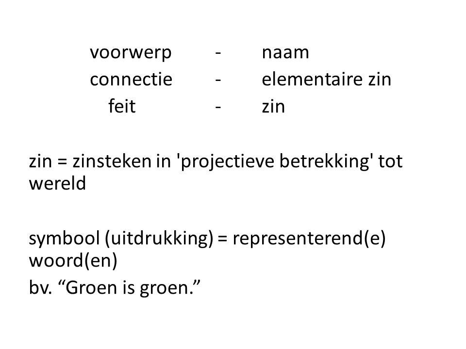 voorwerp-naam connectie -elementaire zin feit - zin zin = zinsteken in 'projectieve betrekking' tot wereld symbool (uitdrukking) = representerend(e) w