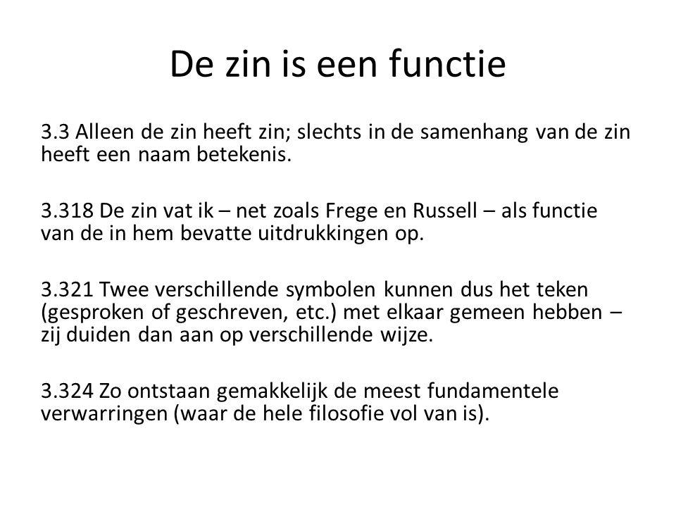 De zin is een functie 3.3 Alleen de zin heeft zin; slechts in de samenhang van de zin heeft een naam betekenis. 3.318 De zin vat ik – net zoals Frege