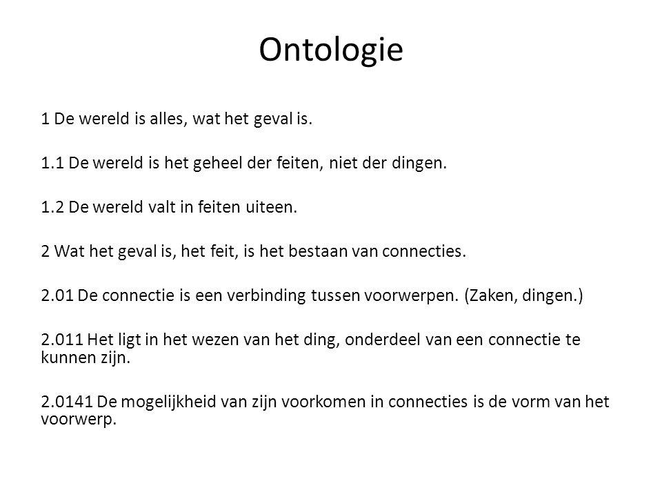 Ontologie 1 De wereld is alles, wat het geval is. 1.1 De wereld is het geheel der feiten, niet der dingen. 1.2 De wereld valt in feiten uiteen. 2 Wat