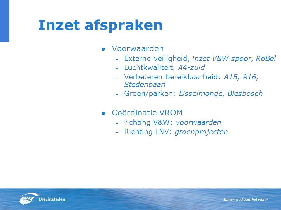 Inzet afspraken Voorwaarden – Externe veiligheid, inzet V&W spoor, RoBel – Luchtkwaliteit, A4-zuid – Verbeteren bereikbaarheid: A15, A16, Stedenbaan – Groen/parken: IJsselmonde, Biesbosch Coördinatie VROM – richting V&W: voorwaarden – Richting LNV: groenprojecten