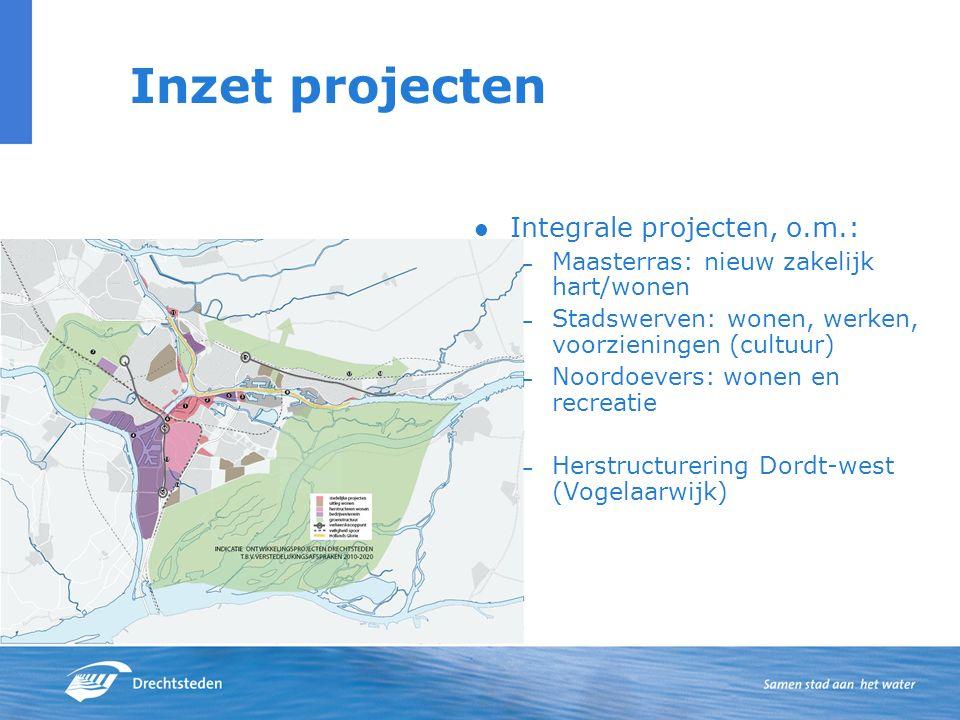 Inzet projecten Integrale projecten, o.m.: – Maasterras: nieuw zakelijk hart/wonen – Stadswerven: wonen, werken, voorzieningen (cultuur) – Noordoevers: wonen en recreatie – Herstructurering Dordt-west (Vogelaarwijk)