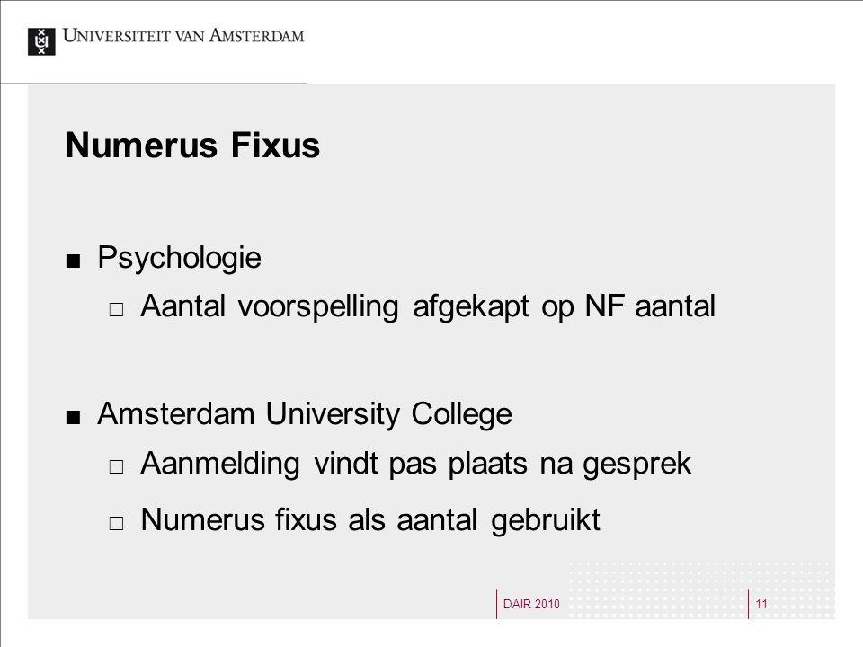 DAIR 201011 Numerus Fixus Psychologie  Aantal voorspelling afgekapt op NF aantal Amsterdam University College  Aanmelding vindt pas plaats na gesprek  Numerus fixus als aantal gebruikt