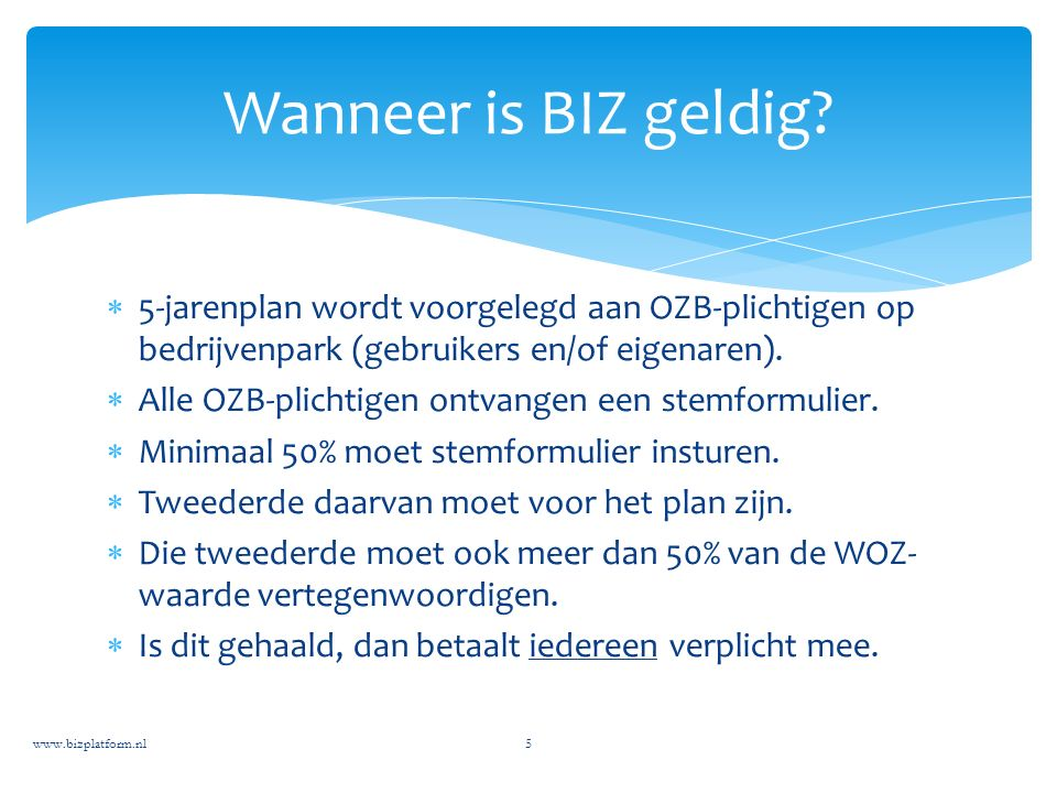  5-jarenplan wordt voorgelegd aan OZB-plichtigen op bedrijvenpark (gebruikers en/of eigenaren).