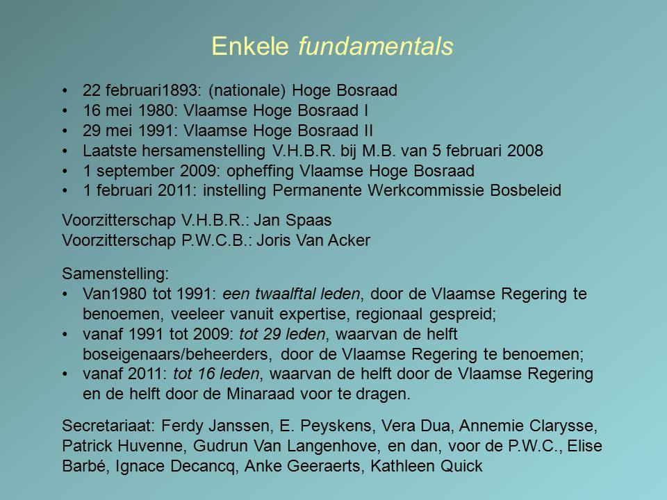 Enkele fundamentals 22 februari1893: (nationale) Hoge Bosraad 16 mei 1980: Vlaamse Hoge Bosraad I 29 mei 1991: Vlaamse Hoge Bosraad II Laatste hersame
