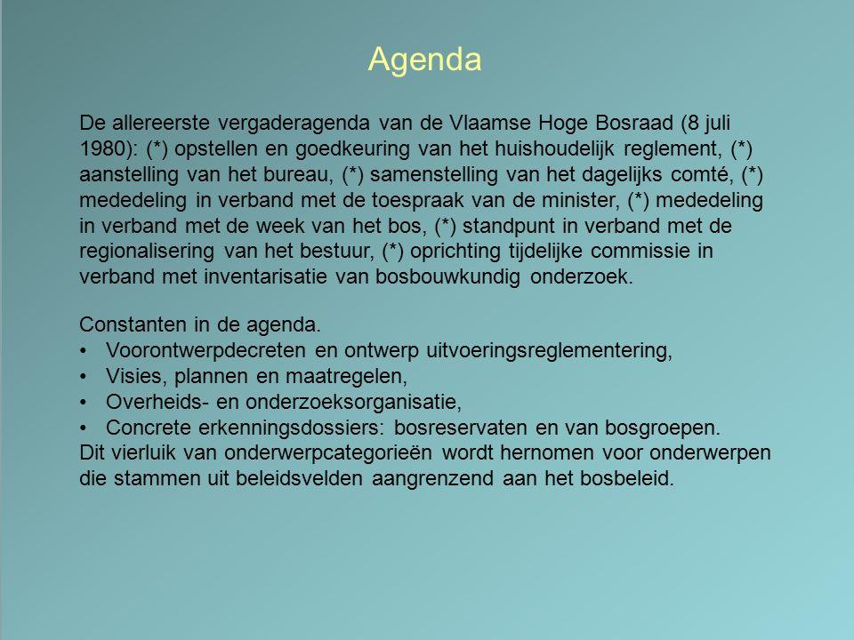 Agenda De allereerste vergaderagenda van de Vlaamse Hoge Bosraad (8 juli 1980): (*) opstellen en goedkeuring van het huishoudelijk reglement, (*) aans