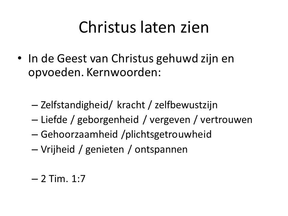 Christus laten zien In de Geest van Christus gehuwd zijn en opvoeden. Kernwoorden: – Zelfstandigheid/ kracht / zelfbewustzijn – Liefde / geborgenheid