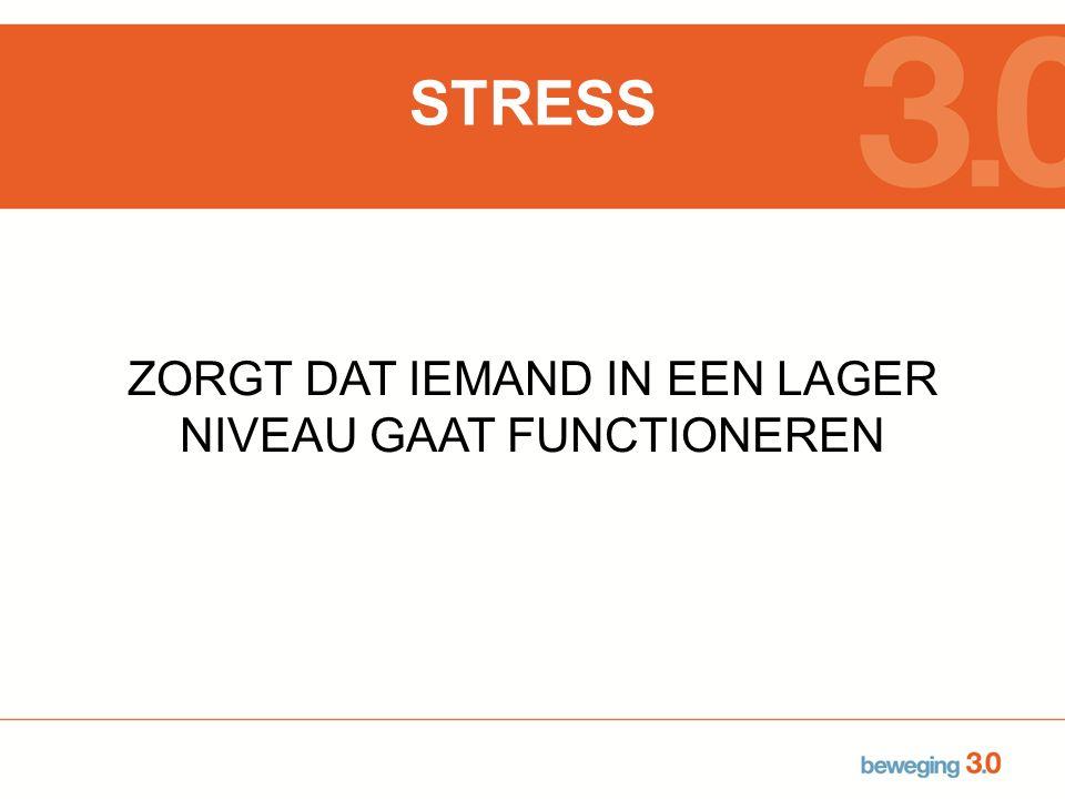 STRESS ZORGT DAT IEMAND IN EEN LAGER NIVEAU GAAT FUNCTIONEREN