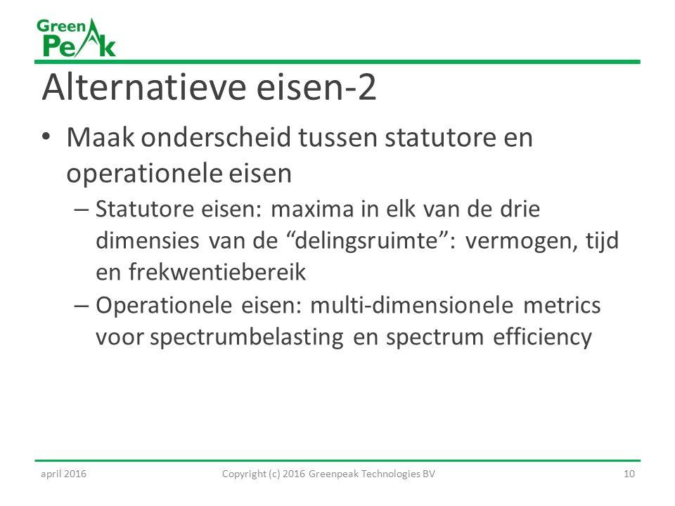 Alternatieve eisen-2 Maak onderscheid tussen statutore en operationele eisen – Statutore eisen: maxima in elk van de drie dimensies van de delingsruimte : vermogen, tijd en frekwentiebereik – Operationele eisen: multi-dimensionele metrics voor spectrumbelasting en spectrum efficiency Copyright (c) 2016 Greenpeak Technologies BV10april 2016
