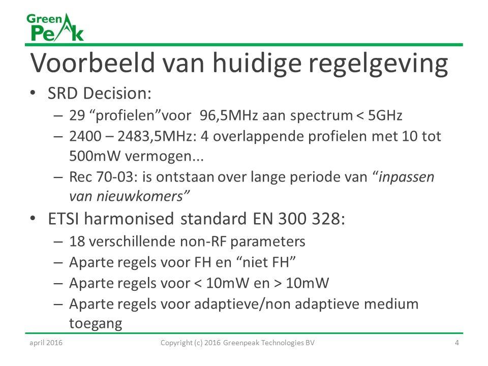 Voorbeeld van huidige regelgeving SRD Decision: – 29 profielen voor 96,5MHz aan spectrum < 5GHz – 2400 – 2483,5MHz: 4 overlappende profielen met 10 tot 500mW vermogen...