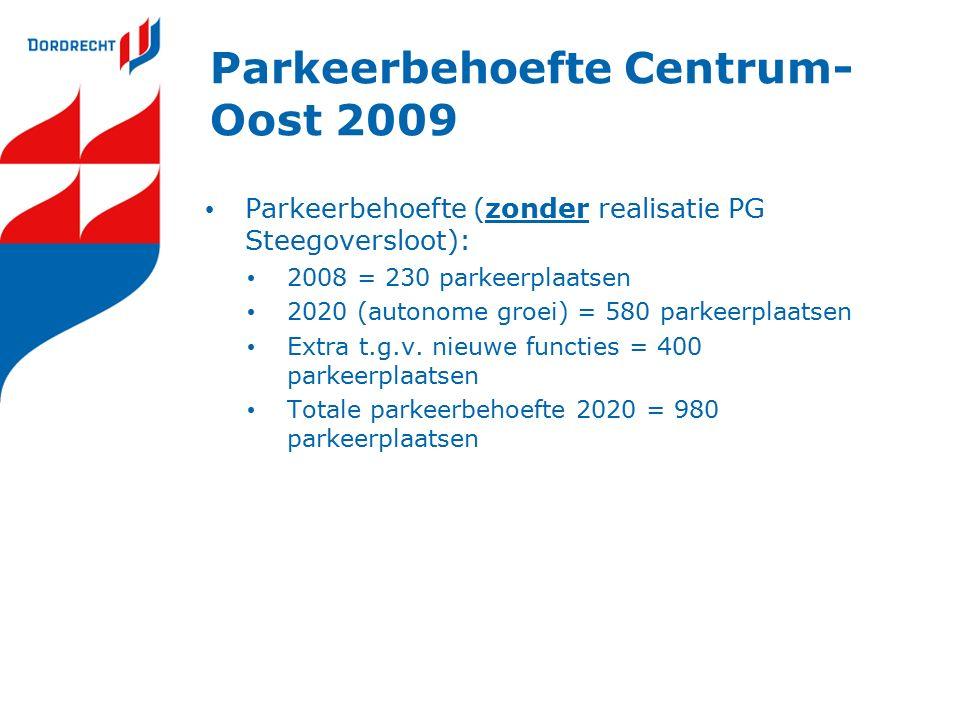 Parkeerbehoefte Centrum- Oost 2009 Parkeerbehoefte (zonder realisatie PG Steegoversloot): 2008 = 230 parkeerplaatsen 2020 (autonome groei) = 580 parkeerplaatsen Extra t.g.v.