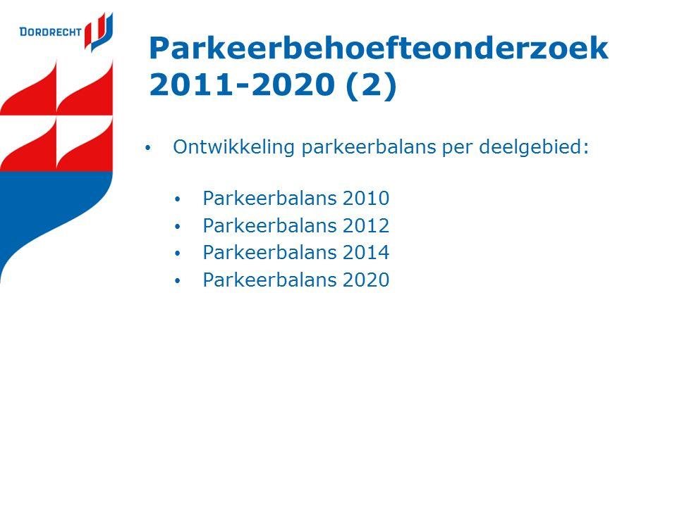 Parkeerbehoefteonderzoek 2011-2020 (2) Ontwikkeling parkeerbalans per deelgebied: Parkeerbalans 2010 Parkeerbalans 2012 Parkeerbalans 2014 Parkeerbalans 2020