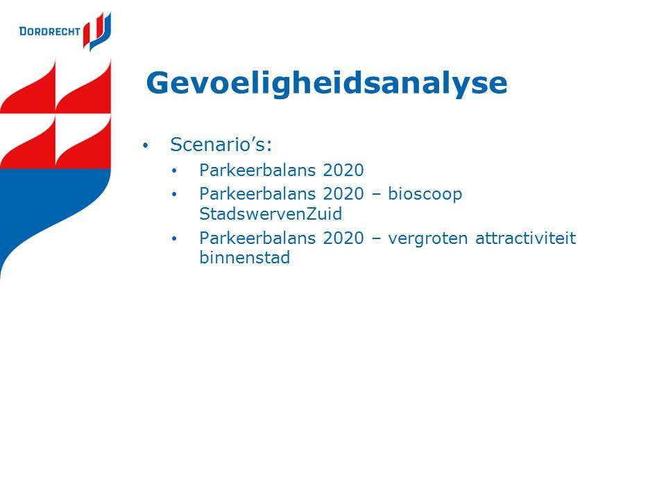 Gevoeligheidsanalyse Scenario's: Parkeerbalans 2020 Parkeerbalans 2020 – bioscoop StadswervenZuid Parkeerbalans 2020 – vergroten attractiviteit binnenstad