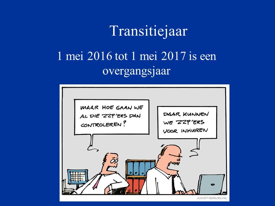 Transitiejaar 1 mei 2016 tot 1 mei 2017 is een overgangsjaar