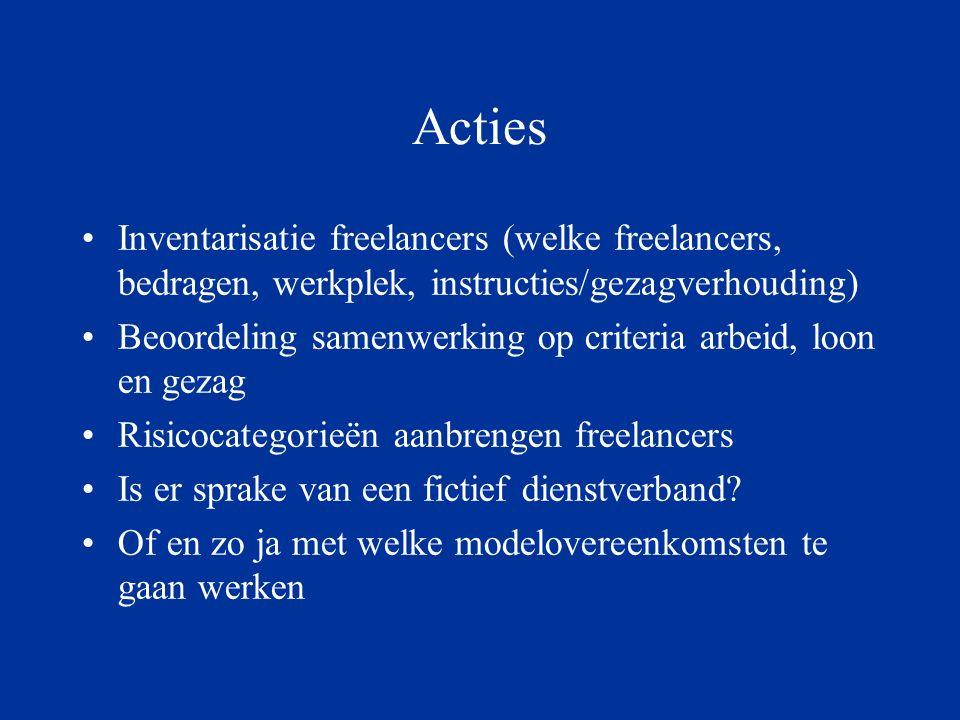 Acties Inventarisatie freelancers (welke freelancers, bedragen, werkplek, instructies/gezagverhouding) Beoordeling samenwerking op criteria arbeid, loon en gezag Risicocategorieën aanbrengen freelancers Is er sprake van een fictief dienstverband.