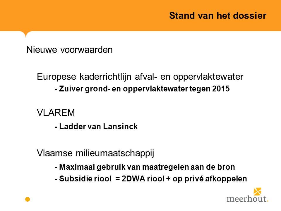 Stand van het dossier Nieuwe voorwaarden Europese kaderrichtlijn afval- en oppervlaktewater - Zuiver grond- en oppervlaktewater tegen 2015 VLAREM - Ladder van Lansinck Vlaamse milieumaatschappij - Maximaal gebruik van maatregelen aan de bron - Subsidie riool = 2DWA riool + op privé afkoppelen