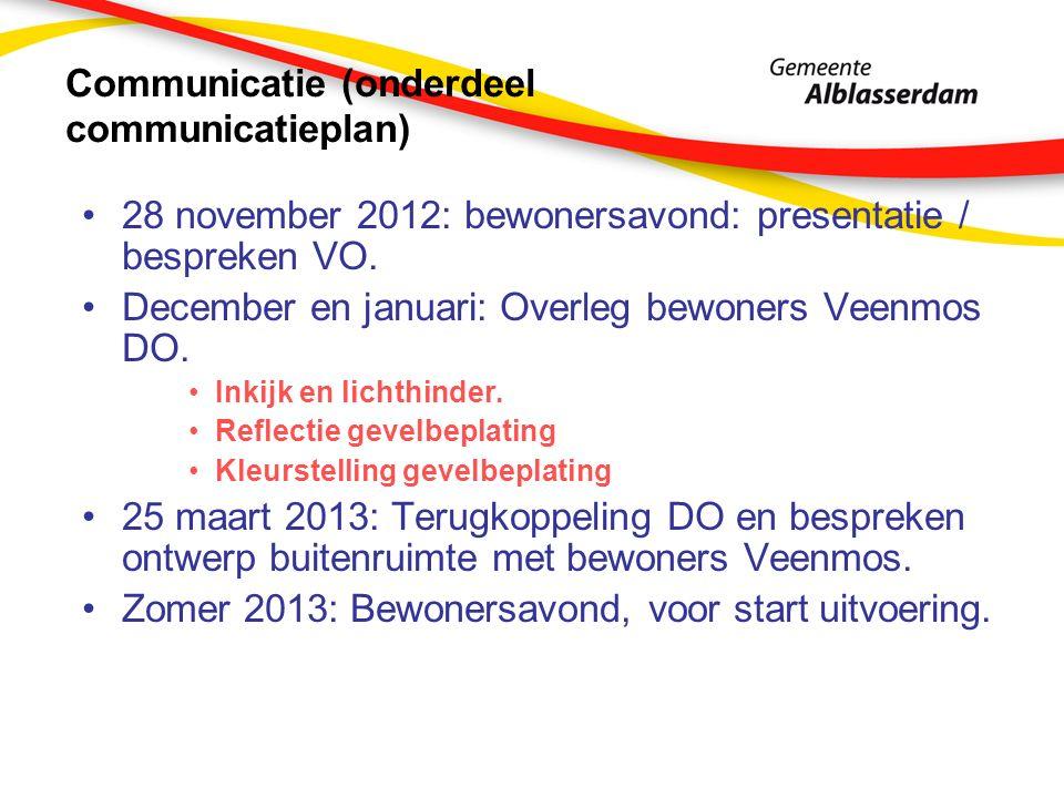 Communicatie (onderdeel communicatieplan) 28 november 2012: bewonersavond: presentatie / bespreken VO.