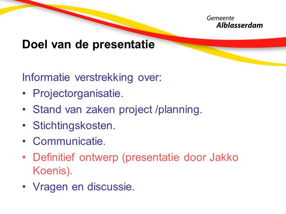 Doel van de presentatie Informatie verstrekking over: Projectorganisatie.