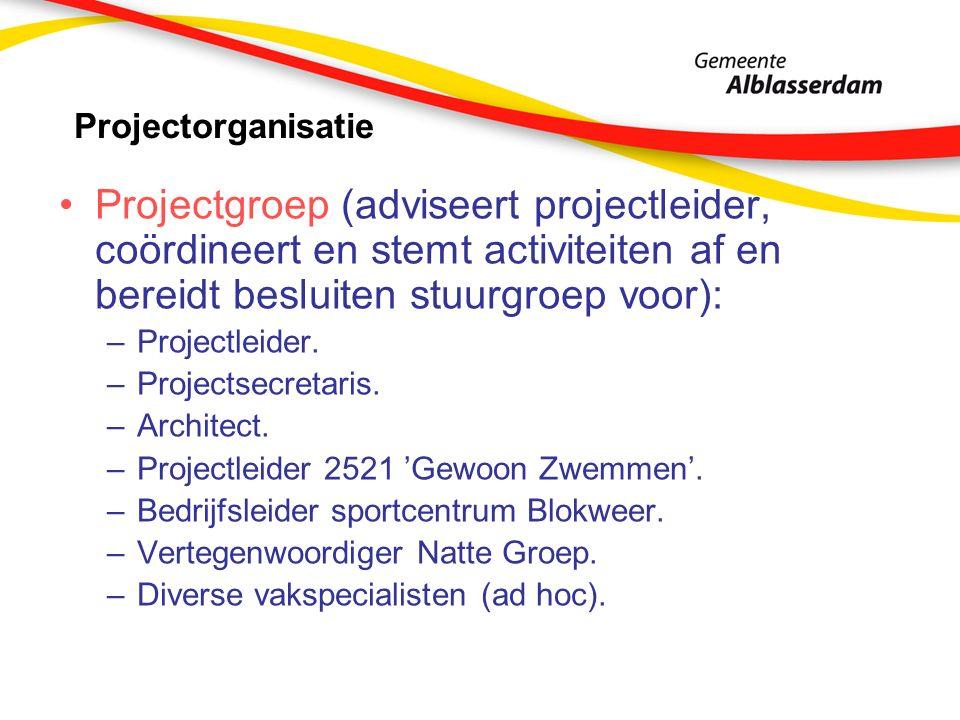 Projectorganisatie Projectgroep (adviseert projectleider, coördineert en stemt activiteiten af en bereidt besluiten stuurgroep voor): –Projectleider.