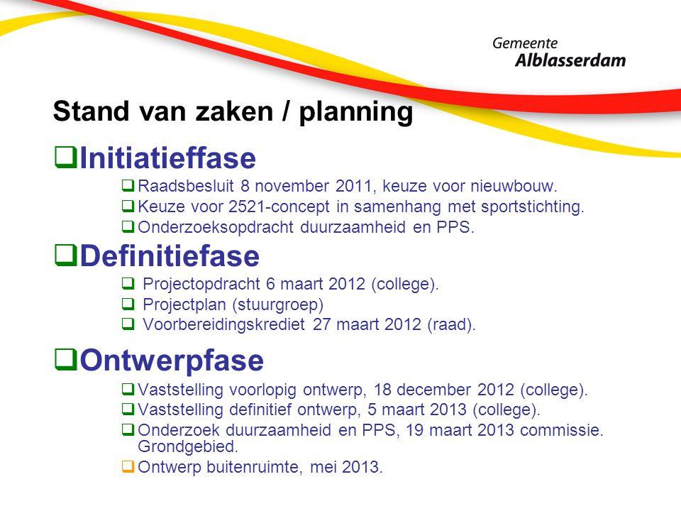 Stand van zaken / planning  Initiatieffase  Raadsbesluit 8 november 2011, keuze voor nieuwbouw.