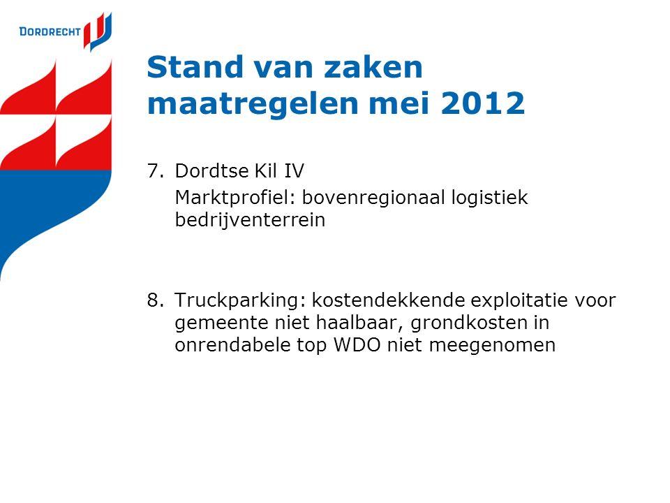 Stand van zaken maatregelen mei 2012 7.Dordtse Kil IV Marktprofiel: bovenregionaal logistiek bedrijventerrein 8.Truckparking: kostendekkende exploitat