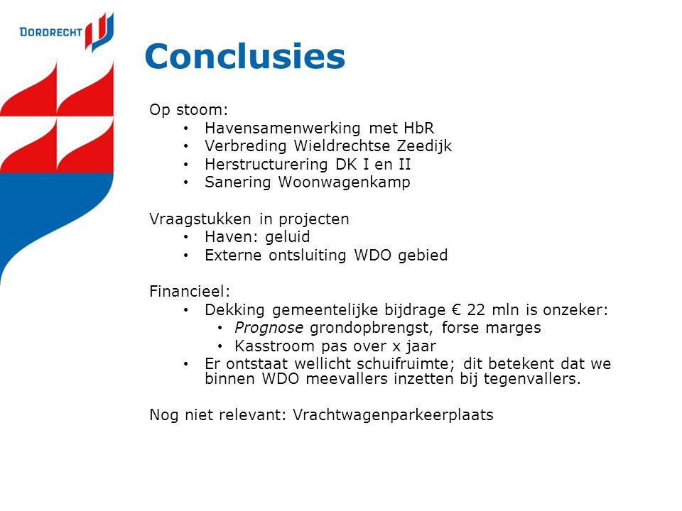 Conclusies Op stoom: Havensamenwerking met HbR Verbreding Wieldrechtse Zeedijk Herstructurering DK I en II Sanering Woonwagenkamp Vraagstukken in proj