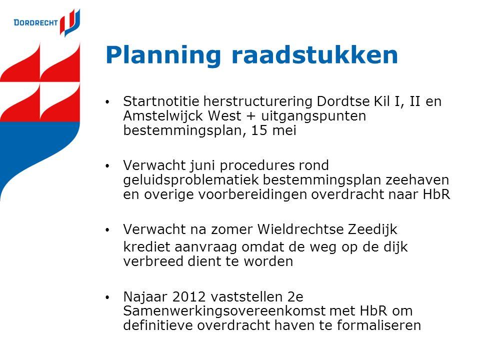 Planning raadstukken Startnotitie herstructurering Dordtse Kil I, II en Amstelwijck West + uitgangspunten bestemmingsplan, 15 mei Verwacht juni proced