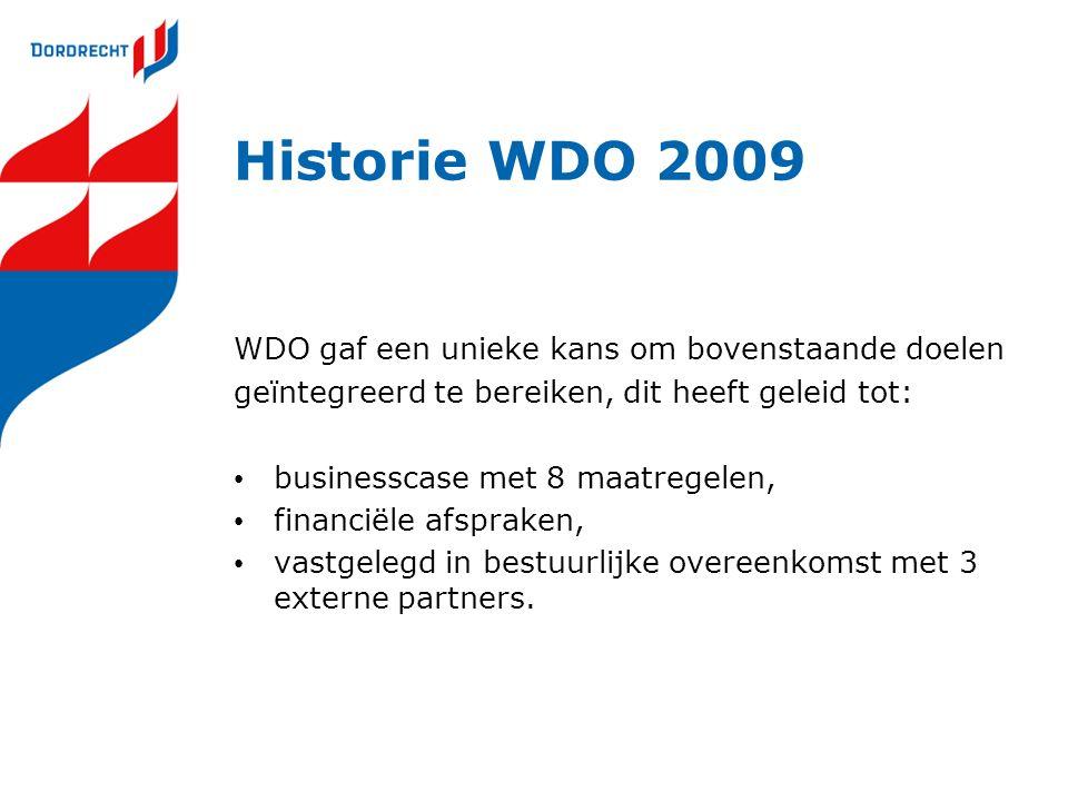 Historie WDO 2009 WDO gaf een unieke kans om bovenstaande doelen geïntegreerd te bereiken, dit heeft geleid tot: businesscase met 8 maatregelen, finan