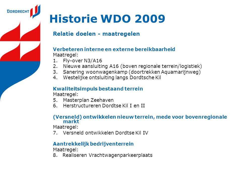 Historie WDO 2009 Relatie doelen - maatregelen Verbeteren interne en externe bereikbaarheid Maatregel: 1.Fly-over N3/A16 2.Nieuwe aansluiting A16 (bov