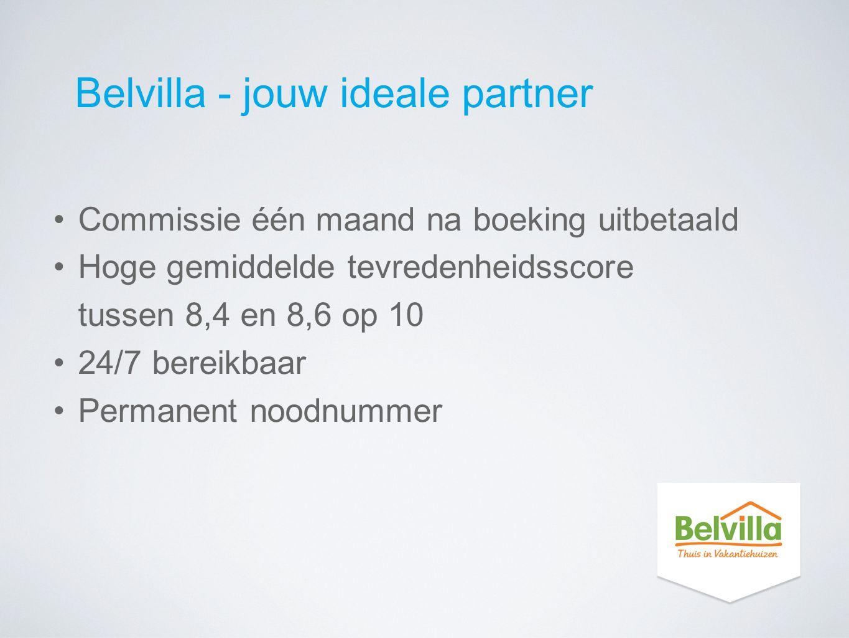 Belvilla - jouw ideale partner Commissie één maand na boeking uitbetaald Hoge gemiddelde tevredenheidsscore tussen 8,4 en 8,6 op 10 24/7 bereikbaar Pe