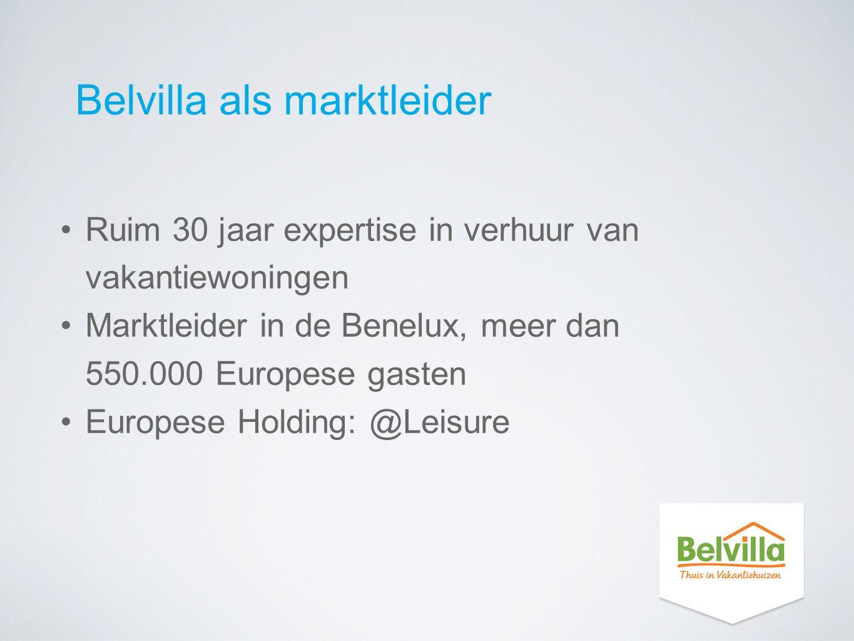 Belvilla als marktleider Ruim 30 jaar expertise in verhuur van vakantiewoningen Marktleider in de Benelux, meer dan 550.000 Europese gasten Europese H