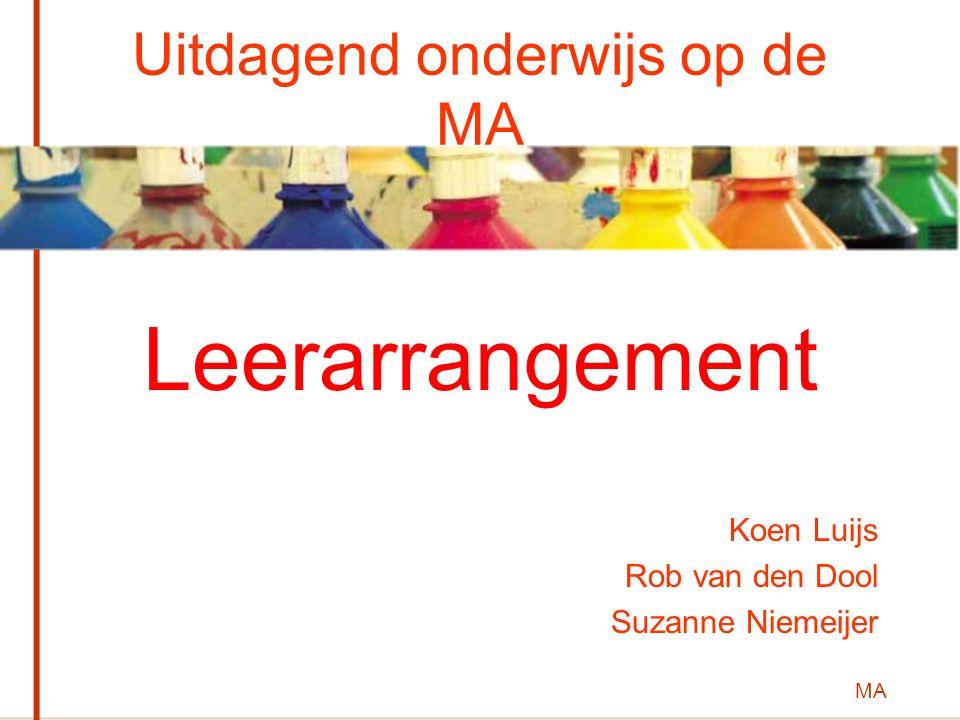 MA Uitdagend onderwijs op de MA Leerarrangement Koen Luijs Rob van den Dool Suzanne Niemeijer