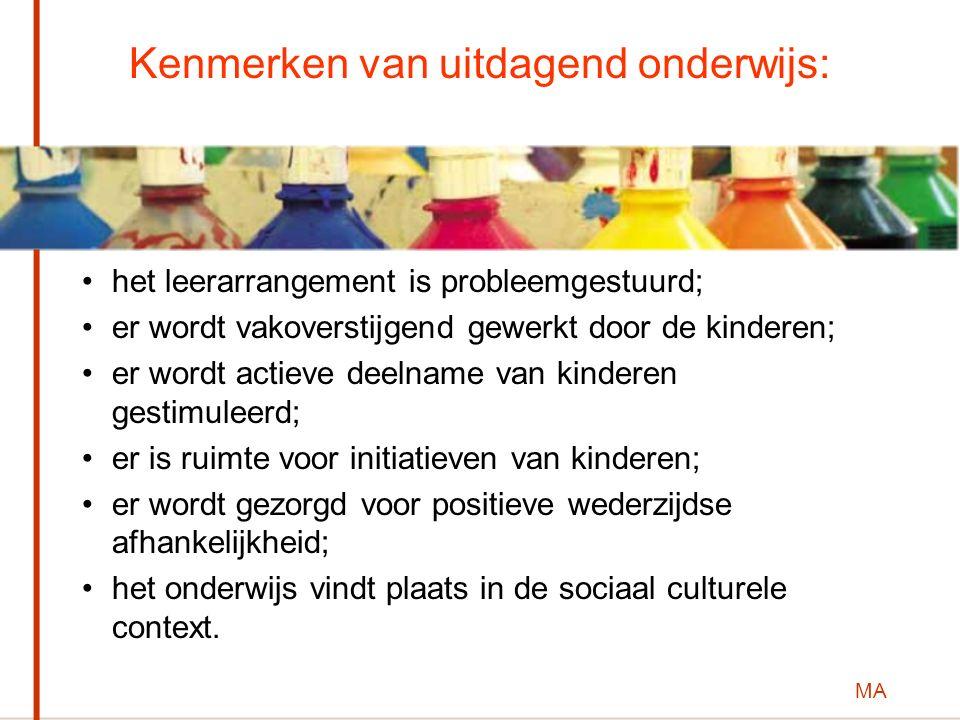 MA Kenmerken van uitdagend onderwijs: het leerarrangement is probleemgestuurd; er wordt vakoverstijgend gewerkt door de kinderen; er wordt actieve dee