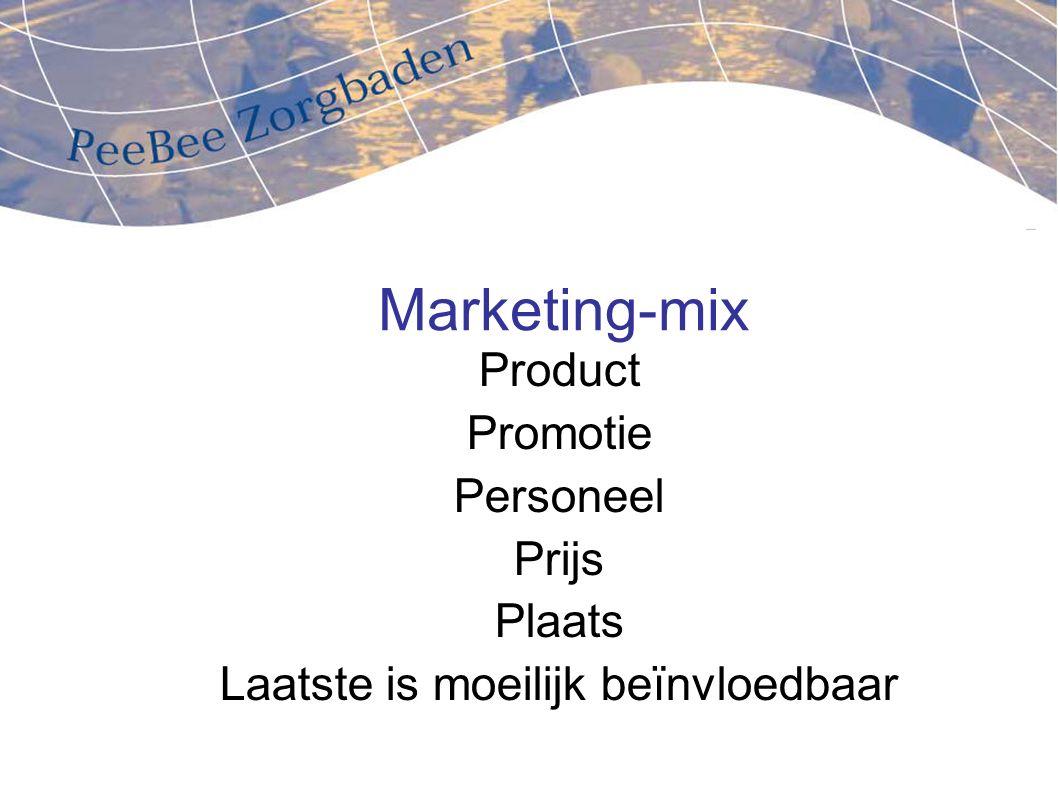 Marketing-mix Product Promotie Personeel Prijs Plaats Laatste is moeilijk beïnvloedbaar