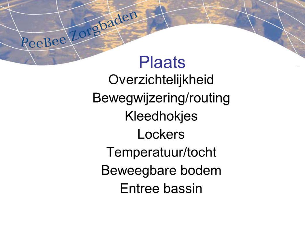 Plaats Overzichtelijkheid Bewegwijzering/routing Kleedhokjes Lockers Temperatuur/tocht Beweegbare bodem Entree bassin