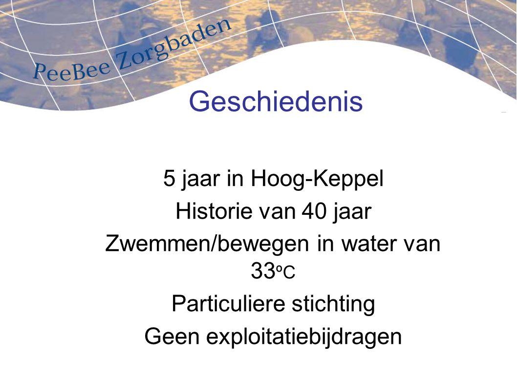 Geschiedenis 5 jaar in Hoog-Keppel Historie van 40 jaar Zwemmen/bewegen in water van 33 ºC Particuliere stichting Geen exploitatiebijdragen