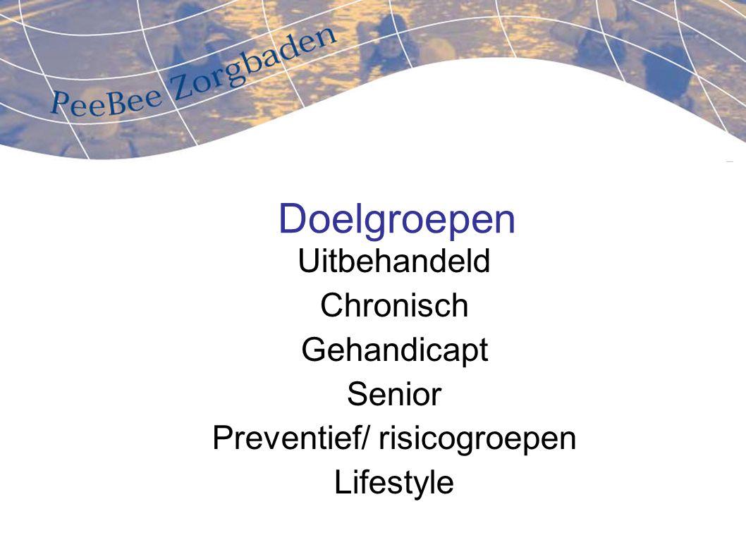 Doelgroepen Uitbehandeld Chronisch Gehandicapt Senior Preventief/ risicogroepen Lifestyle
