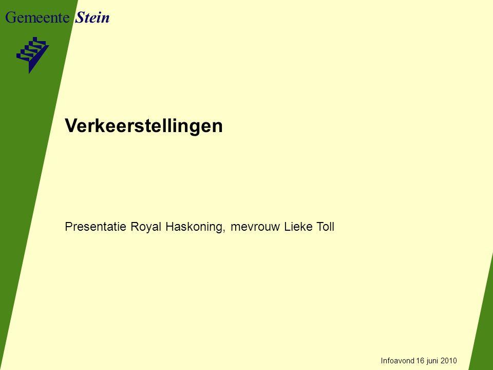 Gemeente Stein Akoestisch onderzoek Doel: vastleggen huidige situatie Karakter: rustige omgeving (buitenwijk stad) Infoavond 16 juni 2010