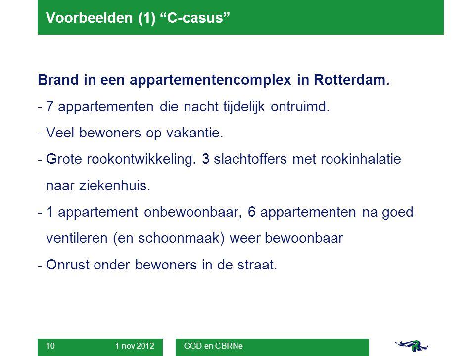 1 nov 2012 GGD en CBRNe 10 Voorbeelden (1) C-casus Brand in een appartementencomplex in Rotterdam.